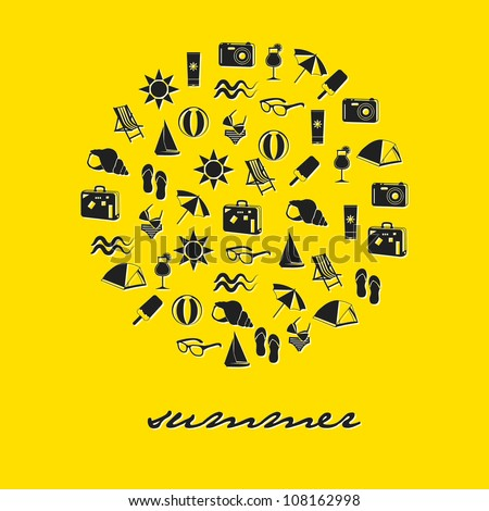 summer icons in circle with yellow background - stock vector