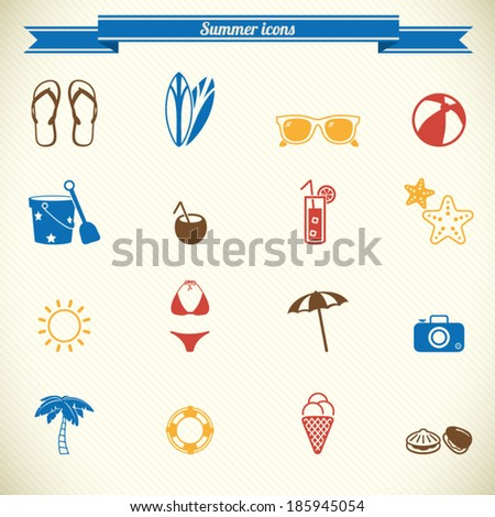 Summer icons in color - stock vector
