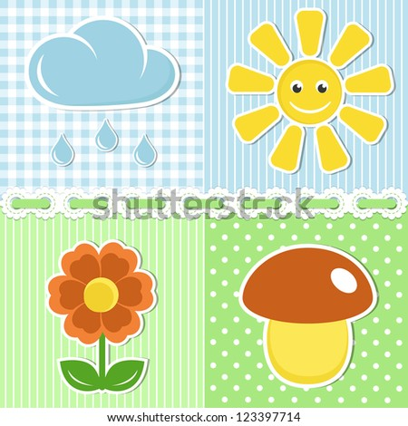 Summer icons of flower, mushroom, sun and cloud on fabric backgrounds - stock vector