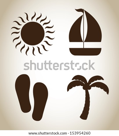 summer icons over beige background vector illustration  - stock vector