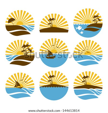 summer icons over white background vector illustration - stock vector