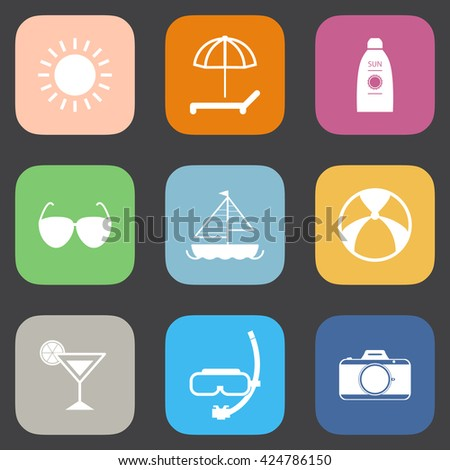 Summer icons set. - stock vector