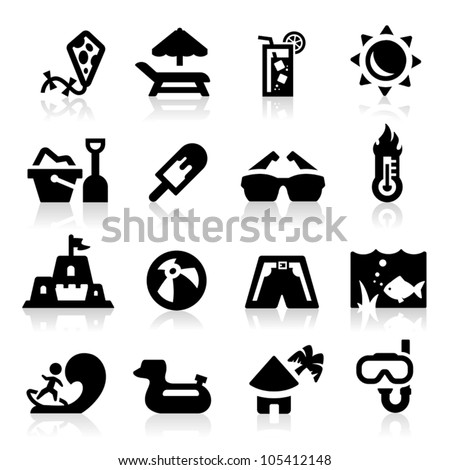 Summer icons set Elegant series - stock vector