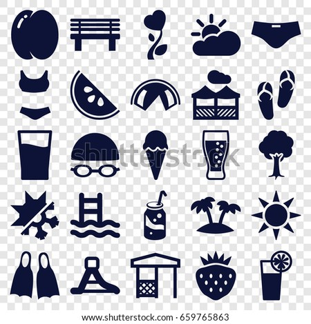 Summer icons set. set of 25 summer filled icons such as peach, flip flops, soda, tree, strawberry, bench, gazebo, heart flower, cocktail, waterslide, palm, drink, pergola