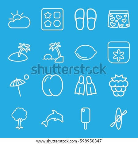 summer icons set. Set of 16 summer outline icons such as peach, mulberry, from toy for beach, flower, slippers, tree, lemon, underwear with heart, umbrella, flippers