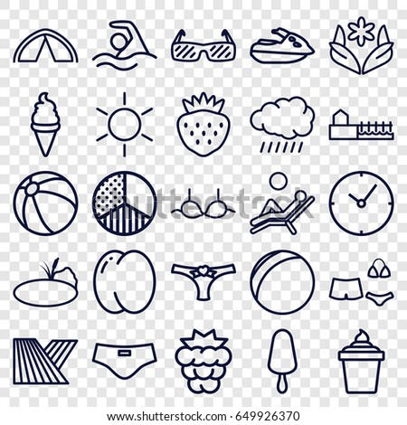 Summer icons set. set of 25 summer outline icons such as sun, field, peach, mulberry, beach ball, flower, bra, ice cream, ice cream on stick, ice cream in can, strawberry