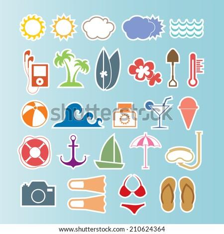 Summer icons set.Vector - stock vector