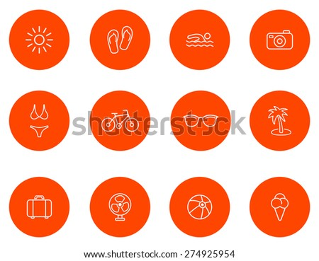 Summer icons.Set 1.Vector - stock vector