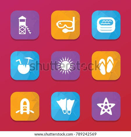 Summer Icons Vector Collection Filled Summer Stock Vector 789242569