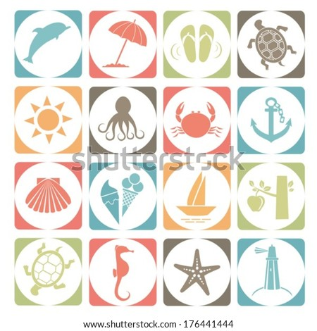 Summer icons. Vector.  EPS-10 (non transparent elements,non gradient). - stock vector