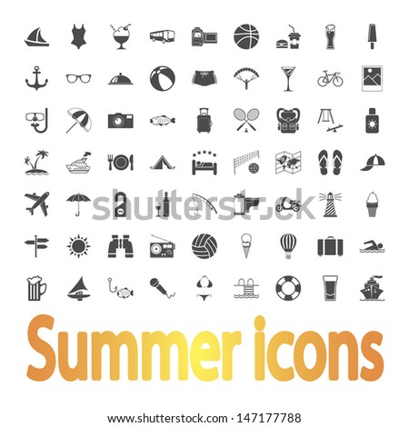 Summer Icons. Vector illustration. - stock vector