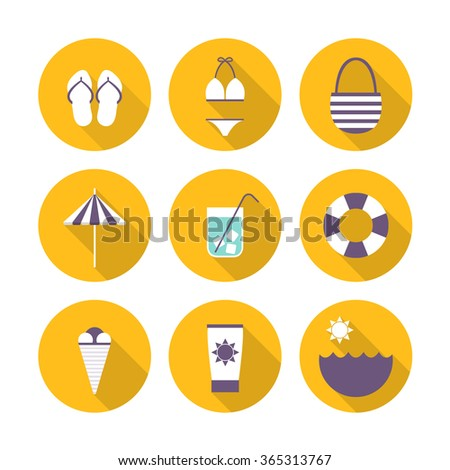 summer icons. vector illustration