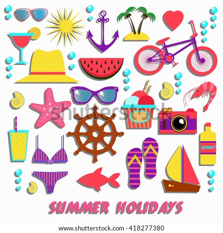 Colorful Signs Of Summer Holidays Vacation Traveling
