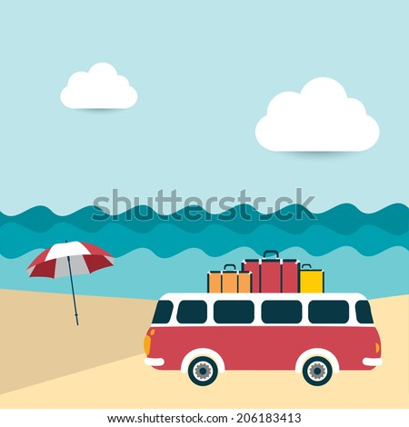 Summer illustrated background. Ocean scenery with retro bus.