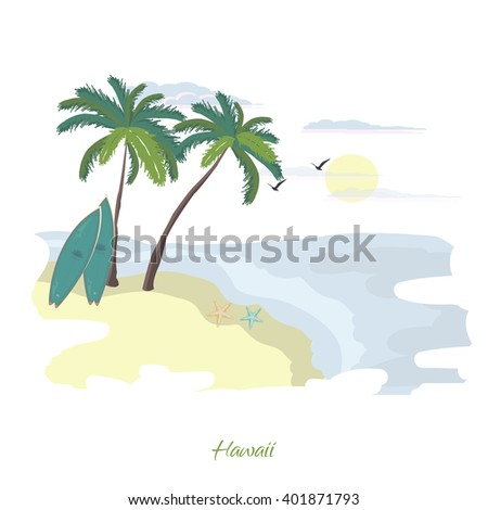Summer illustration of beach with palm trees and surf board. Summer print.
