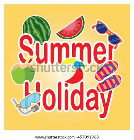 Summer illustration. Vacation on the holidays poster template.
