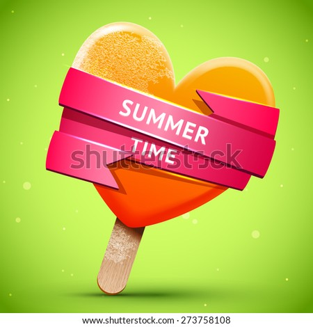 Summer illustration with bright orange ice cream with pink shiny ribbon, vector food  frosted chill icon - stock vector