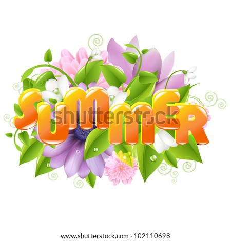 Summer illustration With Flower And Leaf, Isolated On White Background, Vector Illustration