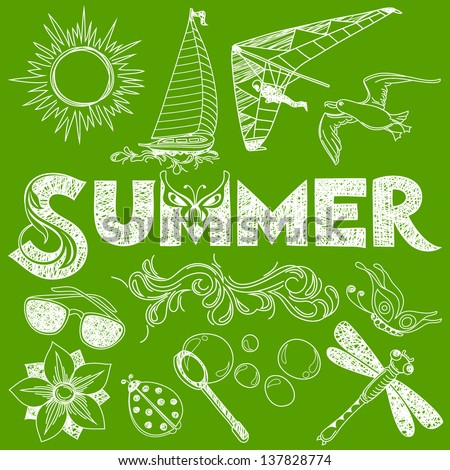 Summer in Handmade Style: Vector Elements and Sign - stock vector