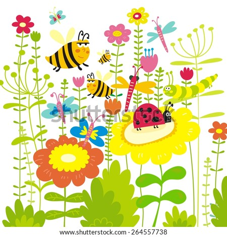 summer insects grass flowers vector design - stock vector