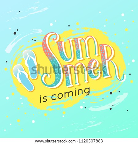 Lovely Summer Is Coming. Recreation, Beach, Sea And Flip Flops Vector Illustration
