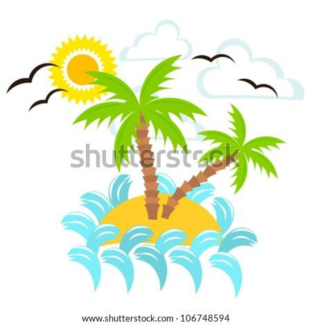 Summer island. Vector illustration - stock vector
