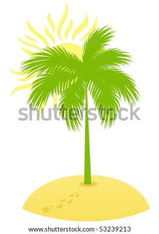 Summer Island with palm, sand and sun. Vector illustration for Your design