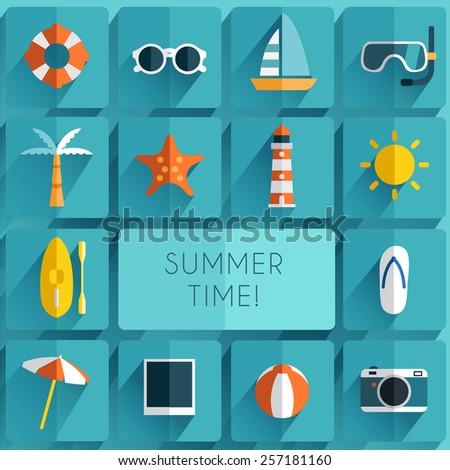 Summer Item :Flat Icon set - stock vector