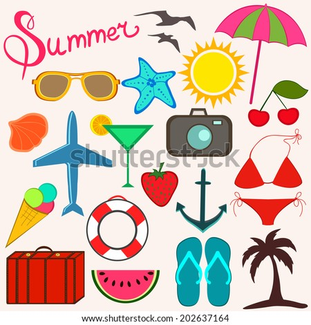 Summer items for fun and travel. Bright cartoon style illustration