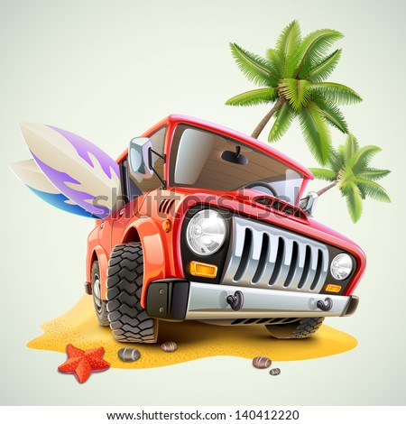 summer jeep car on beach with palm - stock vector