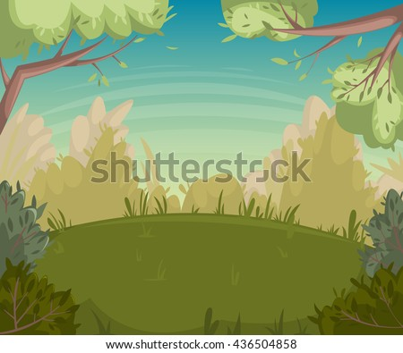 Summer landscape. Forest clearing with trees and bushes. Cartoon vector illustration