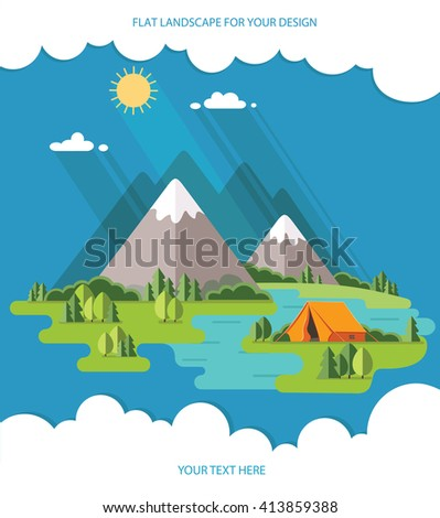 summer  landscape. Morning landscape in the mountains. Solitude in nature by the river. Weekend in the tent. Hiking and camping. Vector flat illustration - stock vector
