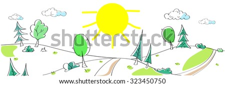Summer Landscape Mountain Forest Road Sun Green Grass Tree Woods Sketch Simple Line Child Hand Drawing Vector Illustration - stock vector