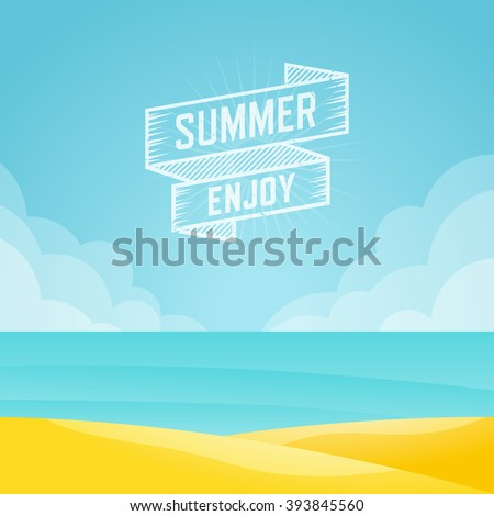 Summer landscape, Seascape background, Vector illustration. - stock vector