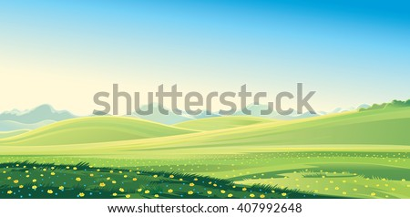 Summer landscape. Summer mountain landscape, vector illustration. It can be used as background. - stock vector
