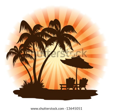 Summer landscape: sunset, palm, chairs and umbrella - stock vector