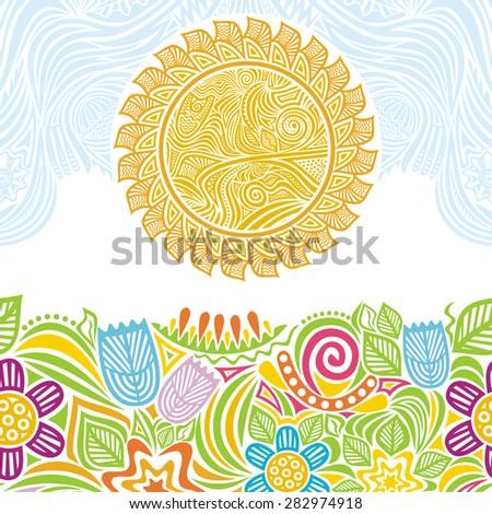 Summer landscape vector illustration - stock vector