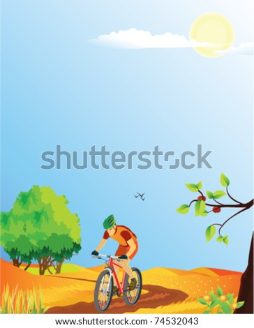 Summer landscape with a mountain biker.  Please see also summer, spring and autumn versions. - stock vector