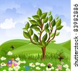 summer landscape with a young tree - stock vector