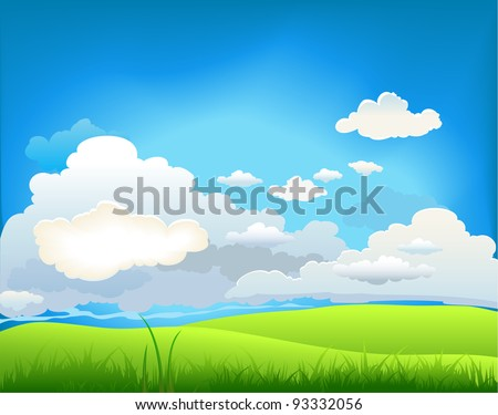 Summer landscape with beautiful clouds - stock vector
