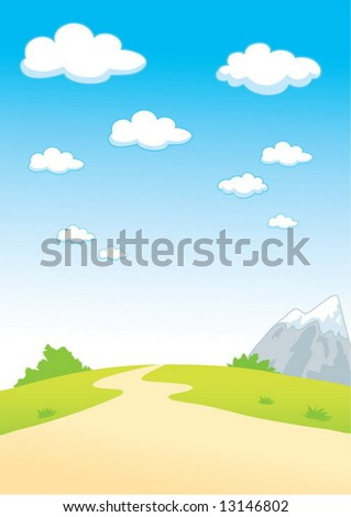Summer landscape with clouds and mountain - stock vector