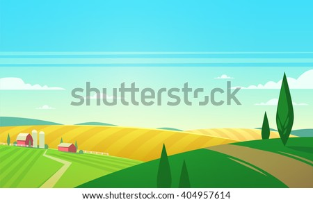 Summer landscape with farmhouse. Vector illustration. - stock vector