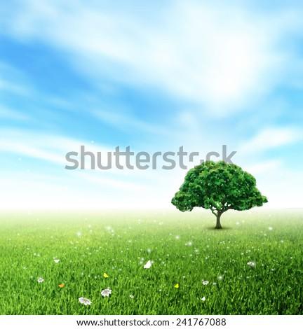 Summer Landscape With Field, Sky, Tree, Grass, Flower And Butterflies - stock vector