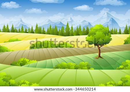 Summer landscape with fields, trees and mountains