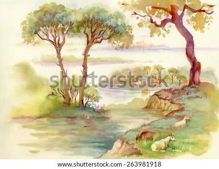 Summer Landscape with goats watercolor illustration vector