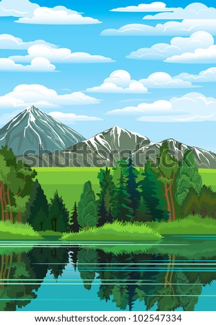 Summer landscape with green forest, river and mountains on a blue cloudy sky - stock vector