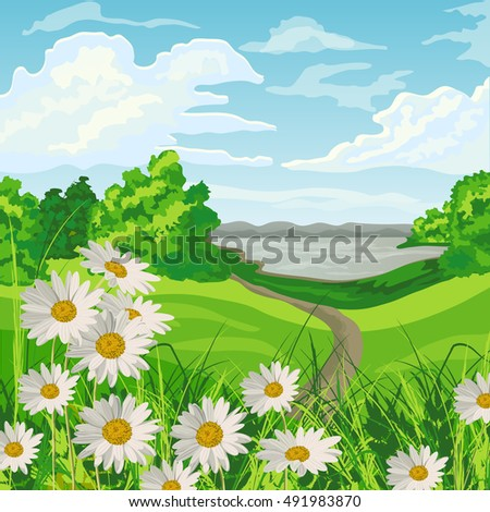 Summer landscape with green meadow, flowers, trees, lake and blue cloudy sky.
