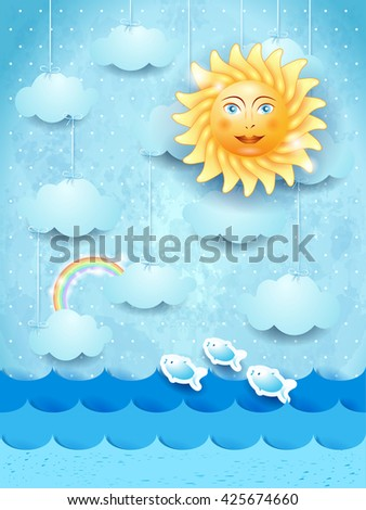 Summer landscape with hanging clouds and happy sun. Vector illustration  - stock vector