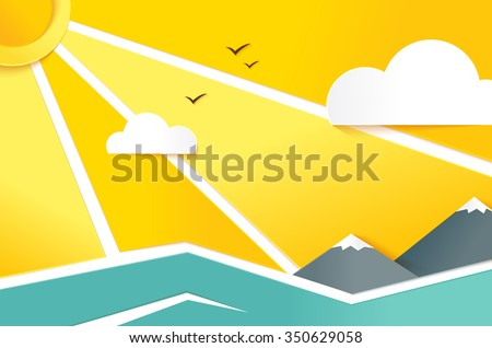 Summer Landscape with Hills, River, Clouds, Sun. Eps 10 file - stock vector
