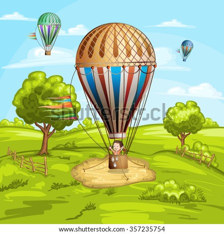 Summer landscape with hot air balloons and happy girl - stock vector